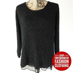 Zara | Lined Layered Sequin Knit Sweater Top (L)